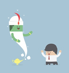 Businessman and genie giant in the magic lamp vector image