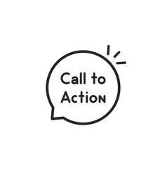 Call to action thin line bubble vector