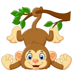 Cartoon funny monkey on a tree vector
