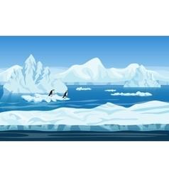 Cartoon nature winter arctic ice landscape vector