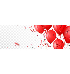 celebration banner with red balloon and confetti vector image