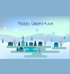 christmas greeting card night winter landscape vector image