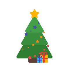 Christmas tree flat with gifts and garland vector