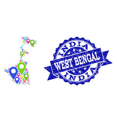 Collage map of west bengal state with map pointers vector