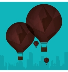 Collection brown airballoons fyling silhouette vector