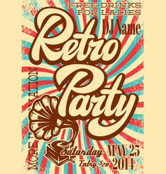 color retro poster template for party with vector image