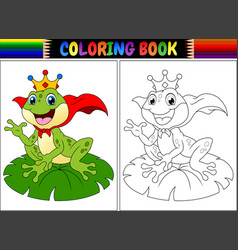Coloring book king frog cartoon vector