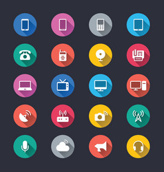 communication device simple color icons vector image