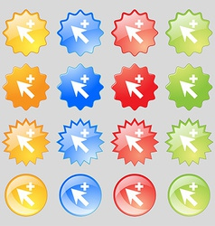 Cursor arrow plus add icon sign Big set of 16 vector image