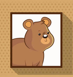 Cute bear frame picture vector