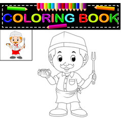 cute funny chef coloring book vector image