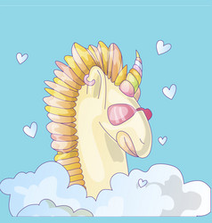 cute unicorn sticker unicorn with pink glasses vector image