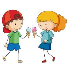 Doodle kids eating icecream vector