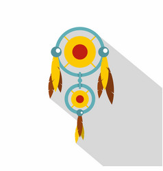 Dreamcatcher with colorful feathers icon vector