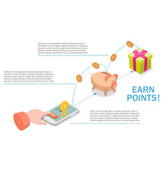 Earn points for purchase diagram flat vector
