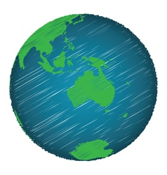 Earth sketch hand draw focus australia continent vector