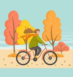 female on bicycle in autumn park sport vector image