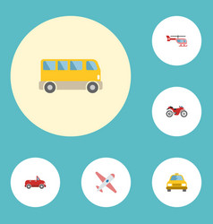 flat icons aircraft cab chopper and other vector image