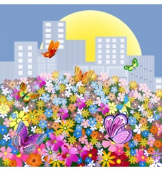flower meadow outside the city vector image