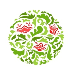 Flower round ornamental pattern vector image