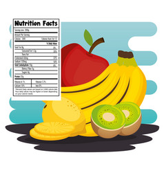 Fruits group with nutrition facts vector