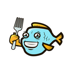 funny fish holding fork seafood logo or label vector image