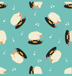 funny seamless pattern with dancing sheep vector image