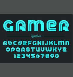 gamer decorative font design alphabet vector image