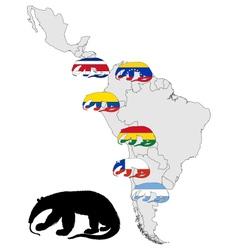 Giant anteater range America vector