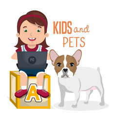 girl with dog and laptop computer character vector image