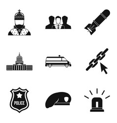 government icons set simple style vector image