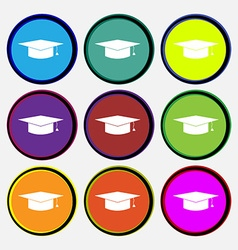 Graduation cap icon sign Nine multi colored round vector