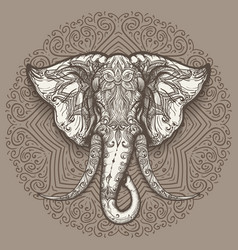 hand drawn elephant head on mandala background vector image
