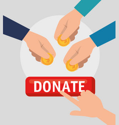 Hands with money charity donation vector