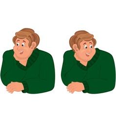 Happy cartoon man torso in green sweater vector image