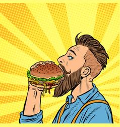 Hipster man eating burger vector