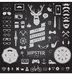 huge set vintage styled design hipster icons vector image