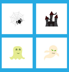Icon flat halloween set of specter phantom vector