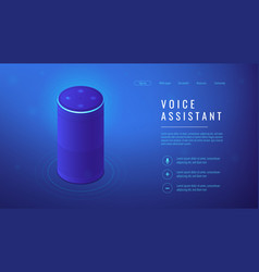 Isometric voice assistant landing page vector