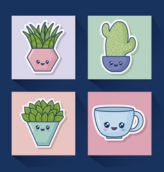 kawaii cactus icon set vector image
