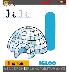 Letter i worksheet with cartoon igloo vector