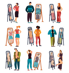 Man and woman dressing and looking at mirror vector