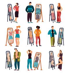 man and woman dressing and looking at mirror vector image