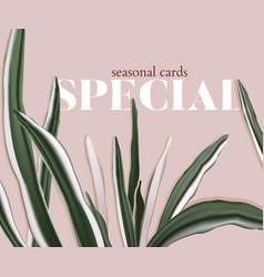 minimalist floral palm wedding invitation card vector image