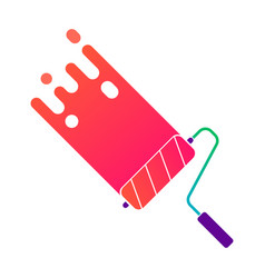 Painting roller with colorful paint vector