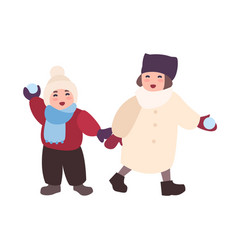 pair of laughing children throwing snowballs vector image