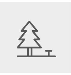 Pine tree thin line icon vector