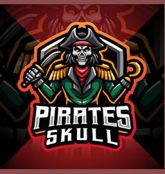 pirates skull mascot gaming logo vector image