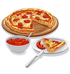 Pizza with tomato sauce vector