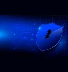 protection shield and blue circuit background vector image